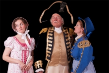 Libby Maxey as Josephine,  Matthew Roehrig as Sir Joseph Porter, and Heather Williams as Cousin Hebe.