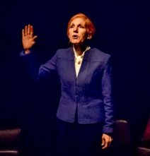 Cynthia Granville as a U.S. senator who campaigns against terrorism. Photo by Ina Stinus.