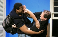 "James Harris, Jr. as Max (l) and Michael Bordwell as Rich  ® in Ethan Itzkow's new play ""Theft"". Photo by Danny Bristoll."