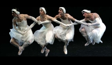 "The Trocks in a scene from ""Le Lac des Cygnes (Swan Lake, Act II),"" which sstill manages to preserve much of the original choreography."