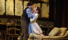 "Anita Hartig in her Met debut as Mimì and Vittorio Grigolo as Rodolfo as Mimì in Puccini's ""La Bohème"" on March 19, 2014. Photo: Marty Sohl/Metropolitan Opera"