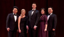 he winners of the 2014 Metropolitan Opera National Council Auditions. From L-R: tenor Yi Li, soprano Julie Adams, bass Patrick Guetti, soprano Amanda Woodbury, and bass-baritone Ao Li. Photo credit: Rebecca Fay/Metropolitan Opera