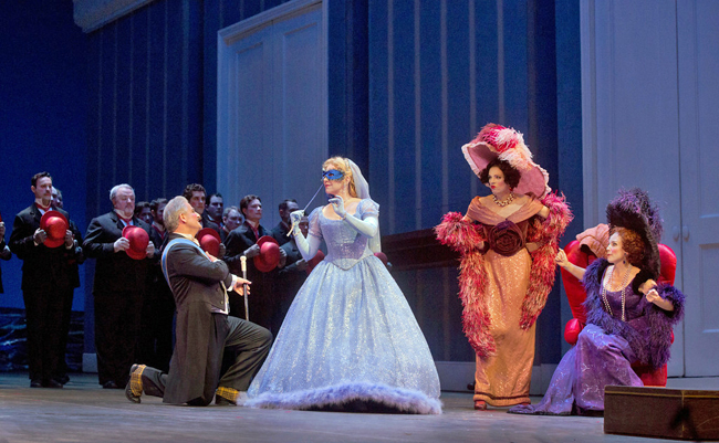 "Pietro Spagnoli as Dandini, Joyce DiDonato as Angelina, Rachelle Durkin as Clorinda, and Patricia Risley as Tisbe in Rossini's ""La Cenerentola."" Photo: Ken Howard, Metropolitan Opera"