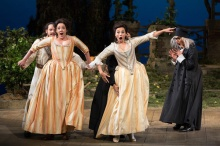 "Matthew Polenzani as Ferrando, Susanna Phillips as Fiordiligi, Isabel Leonard as Dorabella, Rodion Pogossov (hidden) as Guglielmo, and Danielle de Niese as Despina in Mozart's ""Così fan tutte."" Photo: Marty Sohl/Metropolitan Opera Taken on September 11, 2013 at the Metropolitan Opera in New York City."