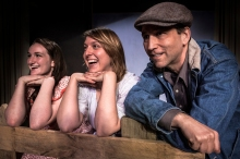 """Christine Lee Mackerer as Aggie, Nellie Rustick as Rosasharon Joad and Kevin Barhydt as Tom Joad in the Ghent Playhouse's production of John Steinbeck's """"The Grapes of Wrath"""" Photo: Daniel Region"""