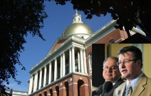 At the State House, Rep. Brian Dempsey, at the microphone, and House Speaker Robert DeLeo hammered through a compromise on the Mass. Cultural Council budget for 2015.