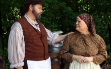 "Tevye (Richard Koons) asks his wife Golde (Monica M. Wemitt) ""Do you love me?"" in Fiddler On The Roof, at The Mac-Haydn Theatre in nearby Chatham, NY, June 19 – 29."