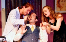 (l to r) Daniel Dunlow, Stephen Powell and Jamie Bock in You Should Be So Lucky at The Theater Barn through July 6th.