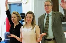 REHEARSAL PHOTO (L. to R.): Debra Jo Rupp (Lilian), Kim Stauffer (June), and Paul O'Brien (Nathan), photo by James Warwick.
