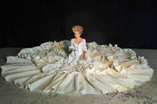 Sylvia Milo as Nannerl Mozart in her amazing 18' diameter dress, representing both the beauty and the excesses of the Baroque period.