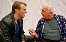 "Rehearsal photo of ""A Number""  - (lto r) Jay Stratton (Salter's Son) and Larry John Myers (Salter), photo by Daniel Elihu Kramer."