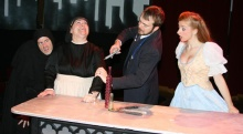Seen here in Young Frankenstein are housekeeper Frau Blucher (Monica M. Wemitt), butler Igor (Colin Pritchard), and lab assistant Inga (Caitlyn Wilayto).