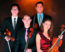 Fover String Quartet (l. - r.) Bryan A. Lee, violin; Camden Shaw, cello;  Joel Link, violin; & Milena Pajaro-van de Stadt, viola