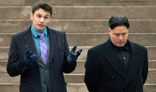"James Franco (l) sets up a scene with North Korean leader Kim Jong Un for the movie ""The Interview""."