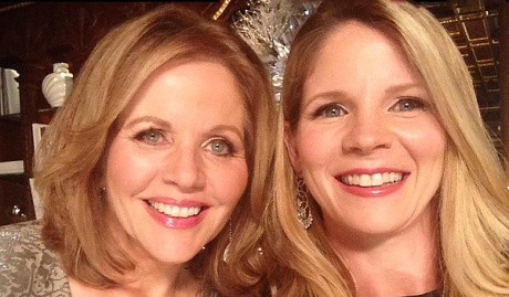 """Renee Fleming (l) with Kelli O'Hara, shooting """"Christmas in New York"""" and looking forward to The Merry Widow at The Metropolitan Opera."""
