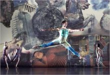 Rauschenberg collaborated with Merce Cunningham and John Cage on the costumes and sets for one of their dance pieces.