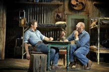 James Franco (l) and Chris O'Dowd in Of Mice and Men. Photo by Richard Phibbs.