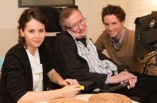 Felicity Jones, Stephen Hawking & Eddie Redmayne.