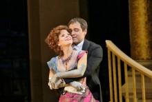 Kelli O'Hara as Valencienne and Alek Shrader as Camille de Rosillon in Lehár's The Merry Widow. Photo credit: Ken Howard/Metropolitan Opera