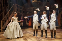 Carleigh Bettiol, Lin-Manuel Miranda, Leslie Odom Jr., and Anthony Ramos. Photo by Joan Marcus.