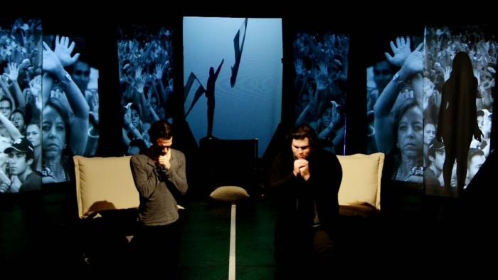 """Golondrinas (Swallows),"" written and directed by Venezuelan expatriate Aminta De Lara, will be presented by La MaMa in NYC April 16-26, 2015.  Howard Collado (Claudia) (L) and Robert Ramos (Carmen Elena) (R).  Photo by Carlos Ayesta."
