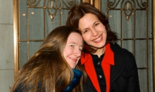Playwright Sarah Ruhl clings closely to her pal and collaborator, Jessica Hecht. Photo by  David Gordon