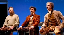 (l to r) Michael Sean McGuinness as Tolstoy, Rik Walter as Dickens, Ezra Barnes as Jefferson