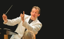 Andris Nelsons conducts the Boston Symphony Orchestra at Tanglewood.  Photo by Marco Borgrevve