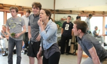 Cast of Weston's Peter and the Starcatcher in rehearsal: Foreground, from left to right: Devin Johnson, Max Sheldon, Rose Hemingway, and Adam Shonkwiler. Background, from left to right: Tom Aulino, Matt Gibson, and John E. Brady.