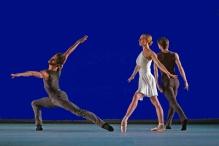 "Daniil Simkin, Isabella Boylston, and James Whiteside in Jorma Elo's ""Nocturne/Etude/Prelude""; photo Morah Geist."