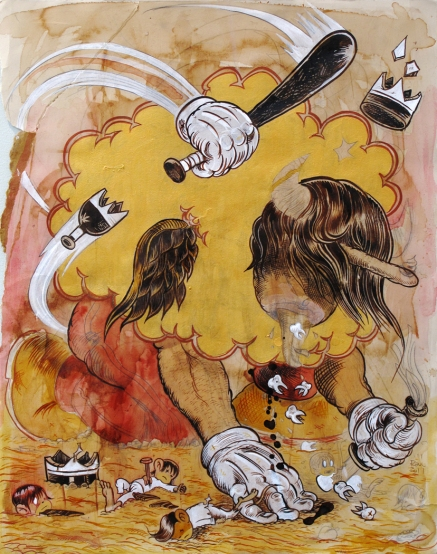 Chichon con Dientes typifies the highly charged works by Raul Gonzalez III.