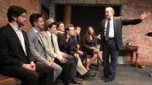 """The Academy"" by Mario Fratti is a play about a school for gigolos in postwar Venice.  Directed by Stephan Morrow, presented by Theater for the New City October 8 to 25, 2015.  L to R: Michael Striano, Nick Palazzo, Taylor Petracek, Kellan Peavy, Fergus Scully, Tucker Lewis, Kate Rose Reynolds, Stephan Morrow.  Photo by Jonathan Slaff."