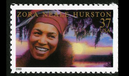 """Zora Neale Hurston's 37-cent stamp features a portrait of Hurston by artist Drew Struzan based on a 1934 black-and-white photograph taken in Chicago by Carl Van Vechten. The background of the stamp recalls the setting of Hurston's novel """"Their Eyes Were Watching God."""""""