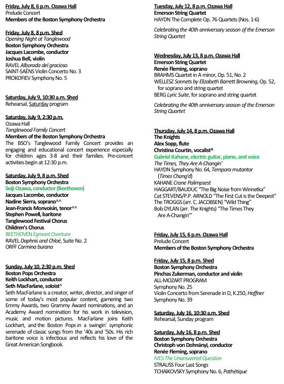Tanglewood Update: The day by day Program and Schedule for