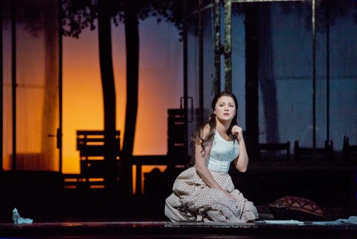 Anna Netrebko as Tatiana in Tchaikovsky's Eugene Onegin. Photo by Ken Howard/Metropolitan Opera.