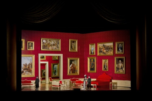 A set model for Robert Carsen's new production of Strauss's Der Rosenkavalier. Sets designed by Paul Steinberg. Photo courtesy of the Metropolitan Opera Technical Department.