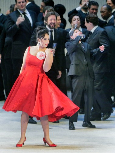 Sonya Yoncheva as Violetta in Verdi's La Traviata. Photo by Ken Howard/Metropolitan Opera.