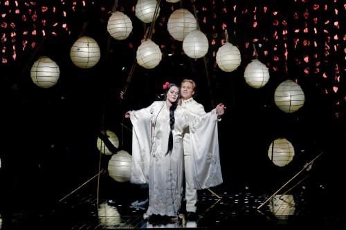 "Kristine Opolais as Cio-Cio-San and Roberto Alagna as Pinkerton in Puccini's ""Madama Butterfly."" Photo: Marty Sohl/Metropolitan Opera"