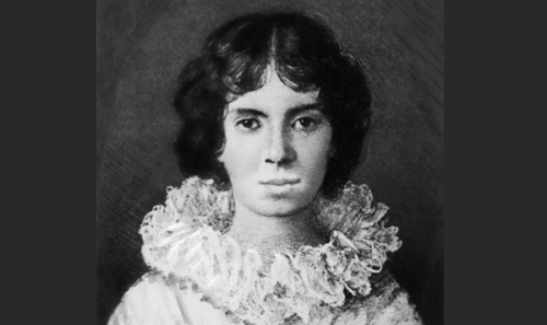 19th century --- Emily Dickinson (1830-1886), American poet.  Early portrait.  Miniature painting in the possession of the Dickinson family.  Undated. --- Image by © Bettmann/CORBIS
