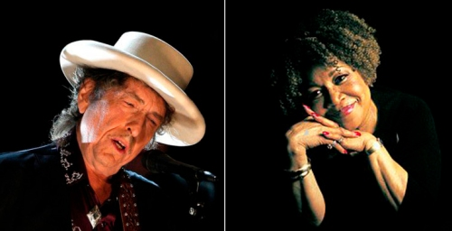 Bob Dylan (l) in a photo by Kevin Winter/Getty Images and Mavis Staples (r).