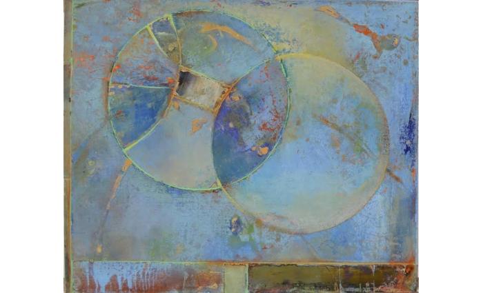"""Vesica Piscis by Joe Goodwin, 20""""x24"""" acrylic on canvas on board. 2015."""