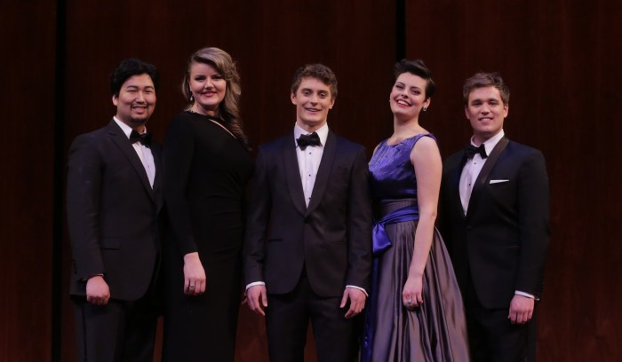 Winners: Sol Kim, Yelena Dyachek, Jakub Józef Orliński , Emily D'Angelo, and Sean Michael Plumb. Photo: Ken Howard/Metropolitan Opera.