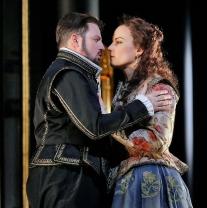 Matthew Polenzani in the title role and Elīna Garanča as Sara in Donizetti's Roberto Devereux. Photo by Ken Howard Metropolitan Opera.
