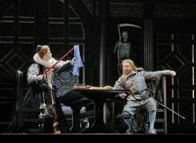 Sondra Radvanovsky as Elisabetta and Christopher Job as Sir Walter Raleigh in Donizetti's Roberto Devereux. Photo by Ken Howard/Metropolitan Opera.