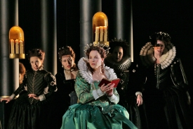 Elīna Garanča as Sara in Donizetti's Roberto Devereux. Photo by Ken Howard/Metropolitan Opera.