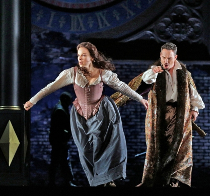 Elīna Garanča as Sara and Mariusz Kwiecień as the Duke of Nottingham in Donizetti's Roberto Devereux. Photo by Ken Howard/Metropolitan Opera.
