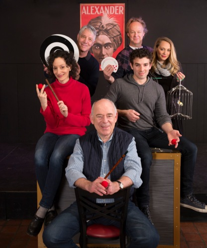 Presto Change-O stars (clockwise from bottom) Lenny Wolpe, Barbara Walsh, Michael Rupert,  Bob Walton, Jenni Barber and Jarrod Spector.
