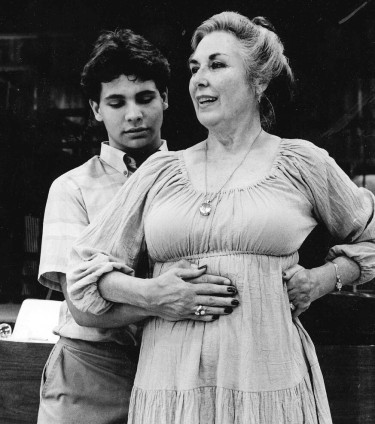 Soprano Phyllis Curtin shows a student the importance of breathing and the diaphragm.