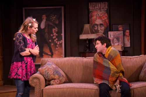 Tina (Jenni Barber) and the blanket (Jarrod Spector). Photo by Scott Barrow.