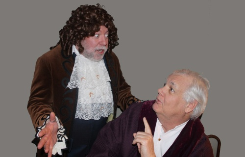 Monk Shane Lydon as Beralde and George Filieau as Argan in Molière's The Imaginary Invalid. Photo by Kelly Mackerer